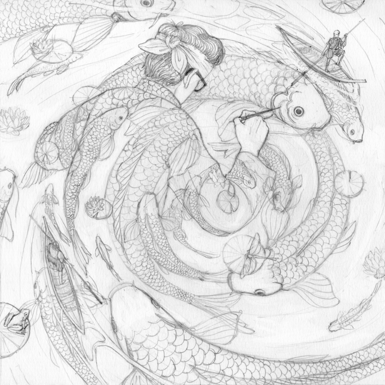 nicholas castell__koi-fishes-lapiz