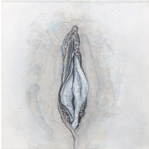 vagina-art, vulva-art, feminist, female-anatomy, mixed media, painting, illustration, feminist art