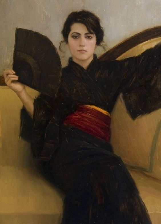 Portrait painter Aaron Westerberg picture Black Kimono